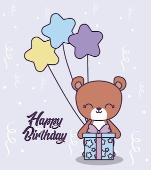 Gelukkige verjaardagskaart met schattige beer