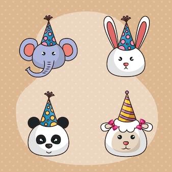 Gelukkige verjaardagskaart met schattige dieren