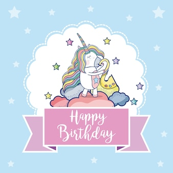 Gelukkige verjaardagskaart met schattige eenhoorns fantasy cartoons
