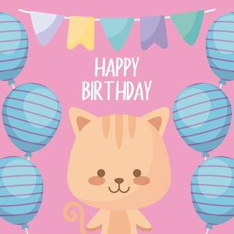 Gelukkige verjaardagskaart met schattige kat