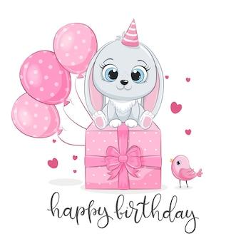 Gelukkige verjaardagskaart met schattige konijntje met ballonnen en cadeau