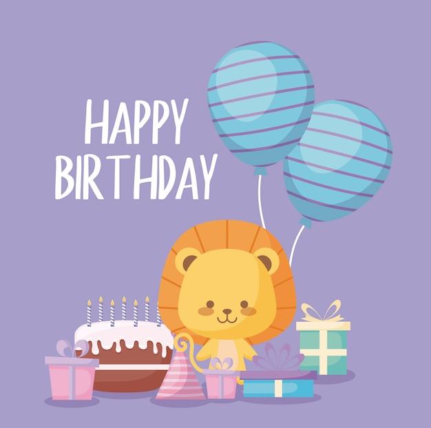 Gelukkige verjaardagskaart met schattige leeuw