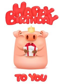 Gelukkige verjaardagskaart met schattige varken cartoon emoji karakter.