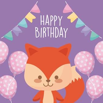 Gelukkige verjaardagskaart met schattige vos