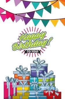 Gelukkige verjaardagskaart met slingers en geschenken scène vector illustratie ontwerp