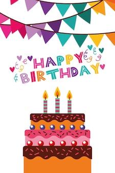 Gelukkige verjaardagskaart met slingers en vector de illustratieontwerp van de cakescène