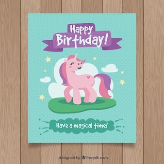 Gelukkige verjaardagskaart met smiley eenhoorn