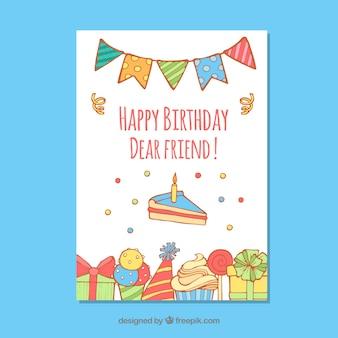 Gelukkige verjaardagskaart met snoep en presenteert in de hand getrokken stijl