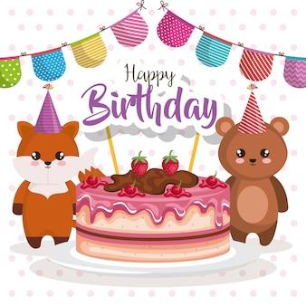 Gelukkige verjaardagskaart met teddy beer en vos