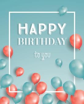 Gelukkige verjaardagskaart met vliegende ballonnen en wit frame. vectorillustratie.