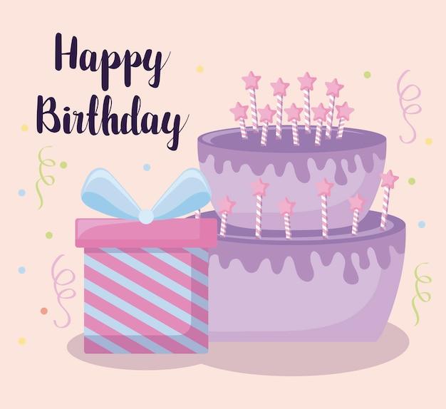 Gelukkige verjaardagskaart met zoete cake en geschenkdoos