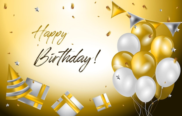 Gelukkige verjaardagskaart uitnodiging viering ballon gouden achtergrond
