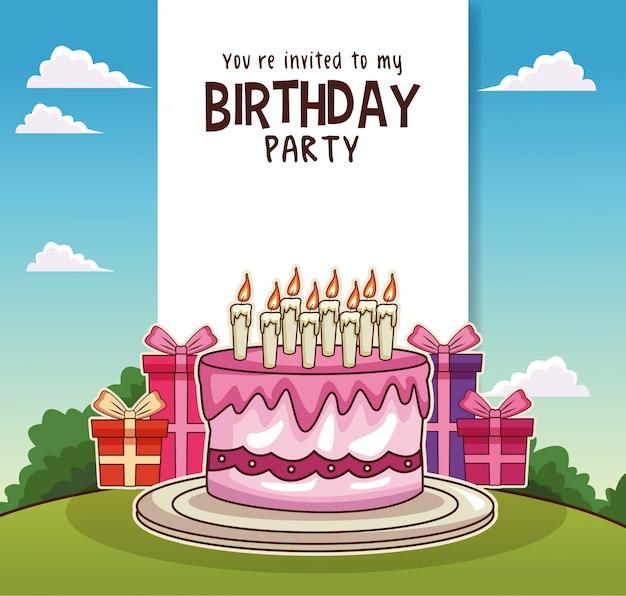 Gelukkige verjaardagskaart uitnodiging