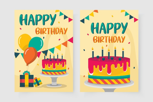 Gelukkige verjaardagskaart versierd met taartfoto's
