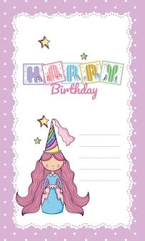 Gelukkige verjaardagskaart voor klein meisje