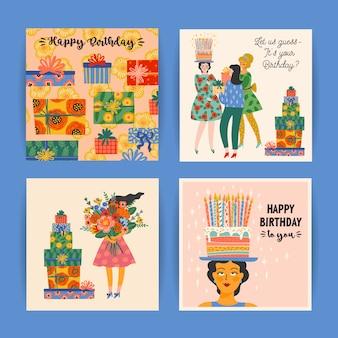 Gelukkige verjaardagskaarten set