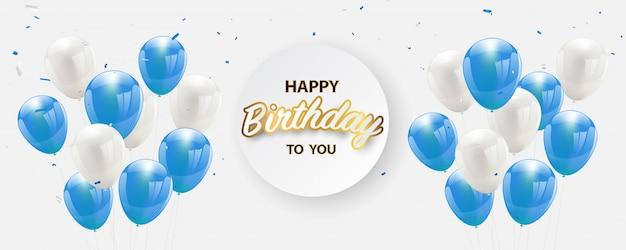 Gelukkige verjaardagspartij banner confetti blauwe ballonnen.