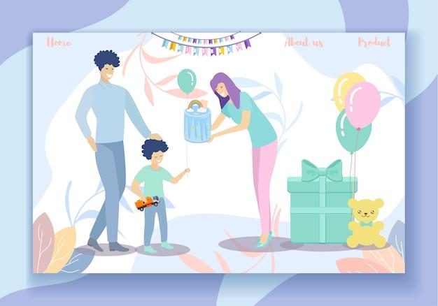 Gelukkige verjaardagspartij. familieplezier, ouders en zoon