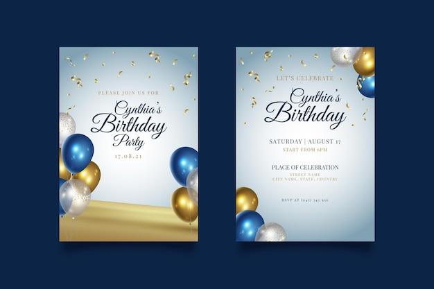 Gelukkige verjaardagspartij met ballonnen uitnodiging