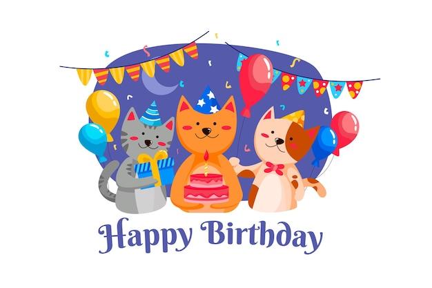 Gelukkige verjaardagspartij met kattenillustratie