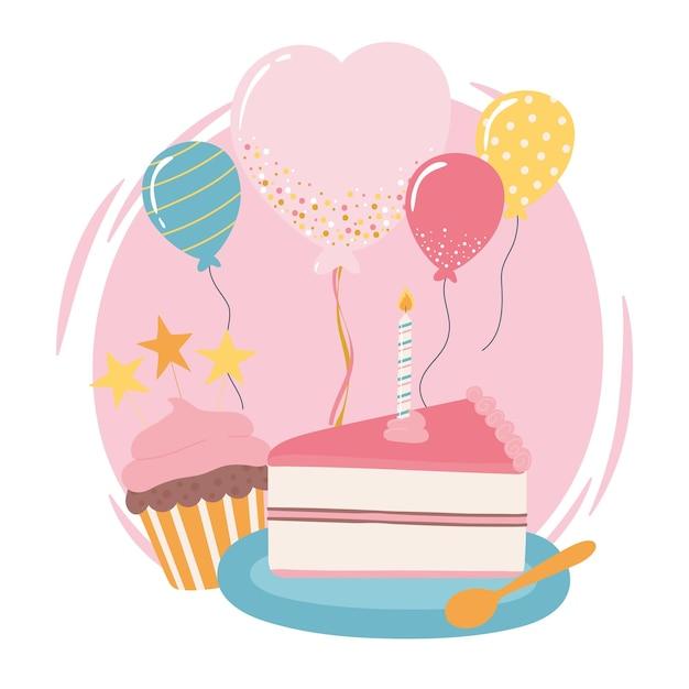 Gelukkige verjaardagstaart cupcake ballonnen viering partij cartoon afbeelding Premium Vector