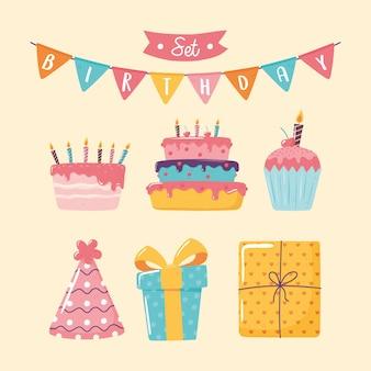 Gelukkige verjaardagstaart cupcake geschenken
