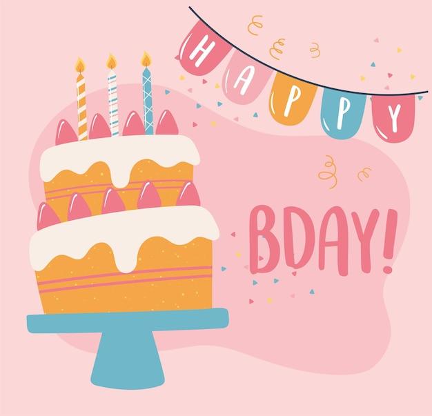 Gelukkige verjaardagstaart met wimpels confetti viering partij cartoon afbeelding Premium Vector