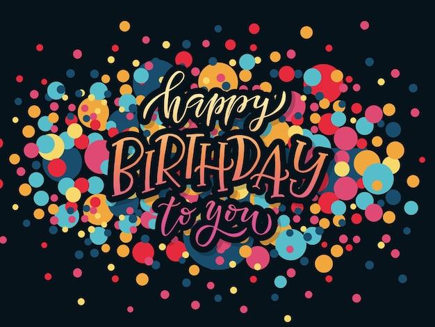 Gelukkige verjaardagstekst als verjaardagsbadgetagicon gelukkige verjaardag-kaartuitnodigingsbannersjabloon