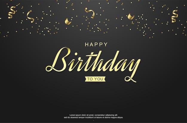 Gelukkige verjaardagstekst in stijl gouden letters met lint.