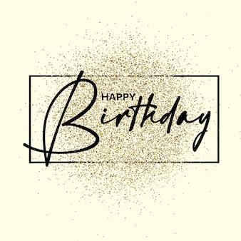 Gelukkige verjaardagstekst op de gouden textuur van gliiter. ontwerpelement. voor zaken, marketing en reclame. vector op geïsoleerde achtergrond. eps-10.