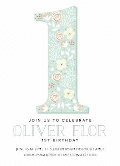 Gelukkige verjaardagsuitnodigingskaart met de letter één in vector