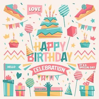 Gelukkige verjaardagsviering geïllustreerd