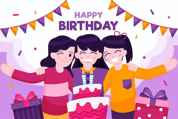 Gelukkige verjaardagsvrienden en cake