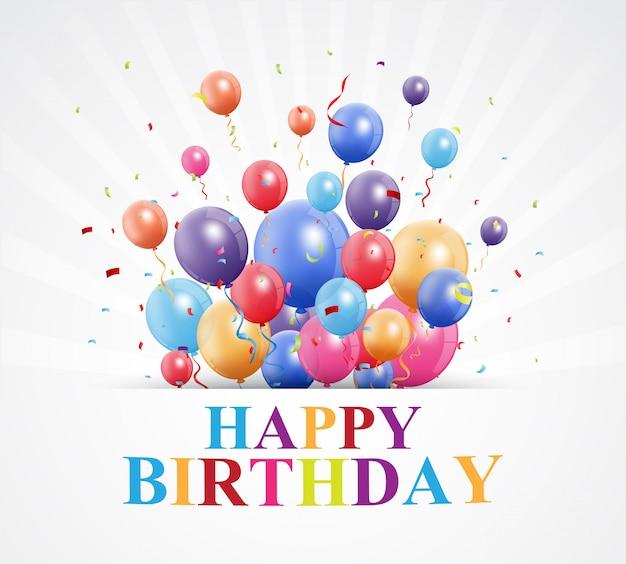 Gelukkige verjaardagswensen met ballon en confetti