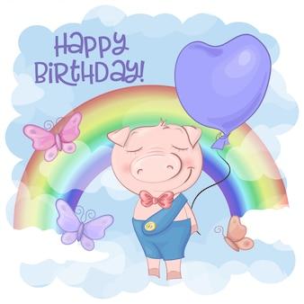 Gelukkige verjaardagswenskaart met leuk varkensbeeldverhaal op een regenboog