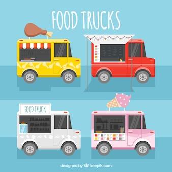 Gelukkige verzameling kleurrijke voedselwagens