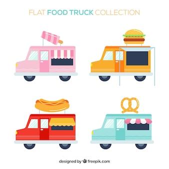 Gelukkige verzameling van platte voedselwagens