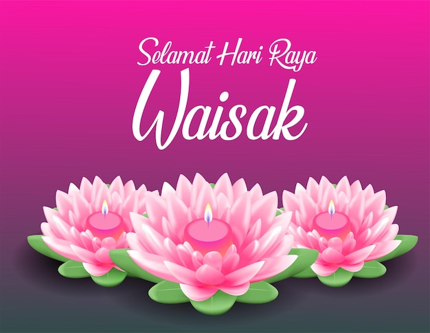 Gelukkige vesak-dag budha purnama-achtergrond met realistische roze lotus