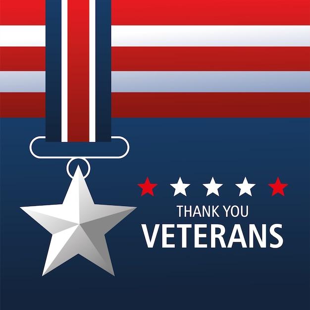Gelukkige veteranendag, bedankt kaart, medaille ster gedenkteken