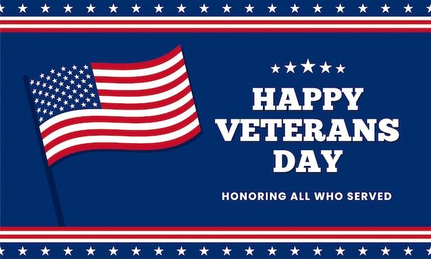 Gelukkige veteranendag die allen eren die dienden, sjabloonontwerp met de vlag van de vs amerika