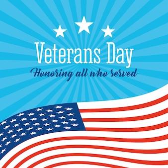 Gelukkige veteranendag, golvende amerikaanse vlagsterren op blauwe zonnestraalillustratie als achtergrond