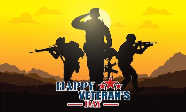 Gelukkige veteranendag militaire vectorillustratie leger achtergrond soldaten silhouetten