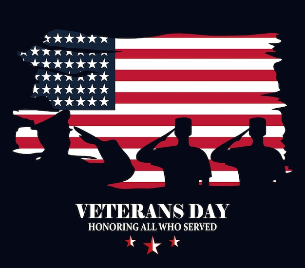 Gelukkige veteranendag, militairen silhouet over vlag grunge stijl vectorillustratie