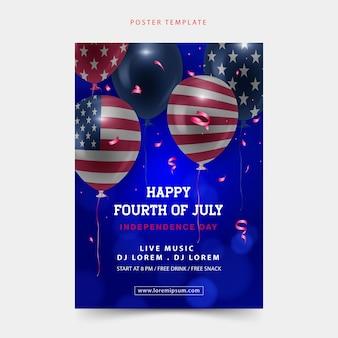 Gelukkige vierde juli-posterachtergrond met de realistische ballon