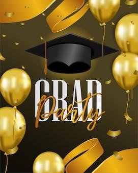 Gelukkige viering van de afstuderenpartij