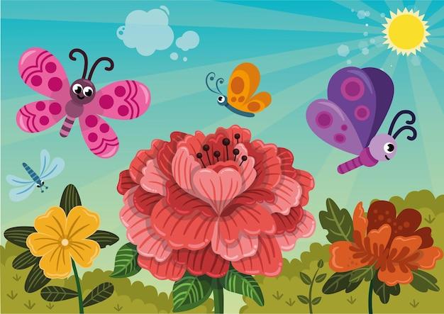 Gelukkige vlinders vliegen over de bloemen in de lente vectorillustratie