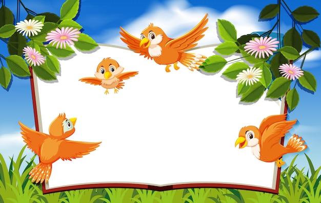 Gelukkige vogel in aard lege banner als achtergrond