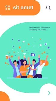 Gelukkige vrienden die evenement samen vieren. kroep mensen die genieten van feesten, dansen, alcohol drinken