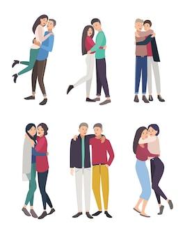 Gelukkige vrienden knuffel set. jongens en meisjes knuffelen, kleurrijke vlakke afbeelding.