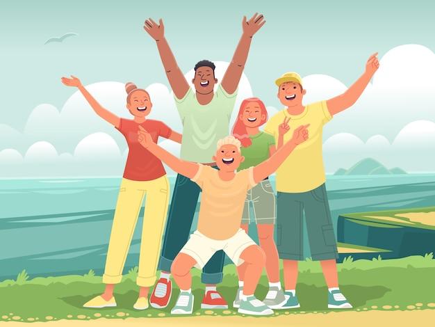 Gelukkige vrienden op reis naar de zee. selfie van tieners op de achtergrond van de oceaan. vrolijke reis van jonge mensen op vakantie. vectorillustratie in vlakke stijl